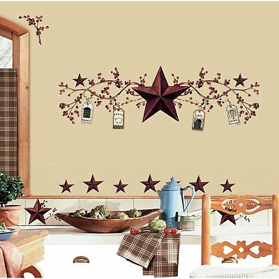 40 Wall Sticker Decal Country Stars Berries Peel Stick Decals Country Wall Decor