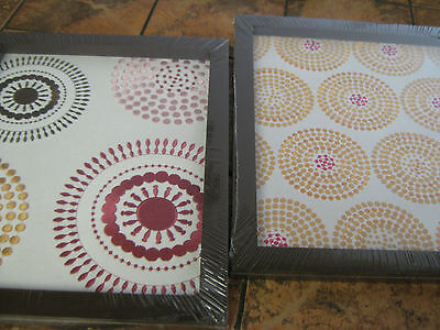 """CoCaLo-Iris Collection-2 Piece  Framed Embroidered Art--Canvas-each 12"""" x 9""""-New"""