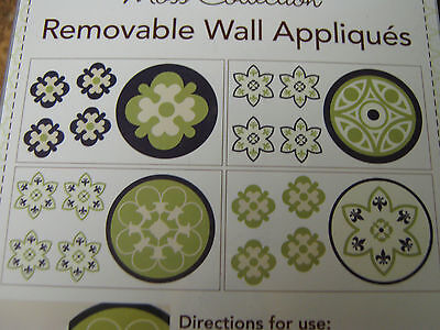 CoCaLo- Moss Collection-Removable Wall Appliques-4 sheets--Green--New in package