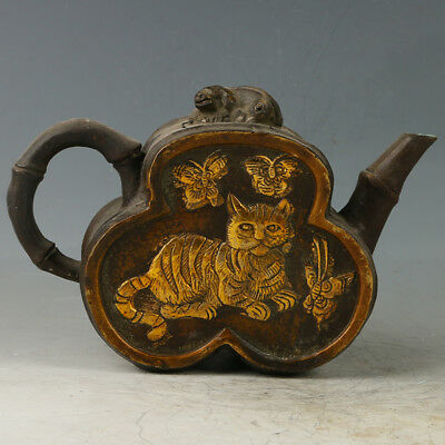 Old Chinese Copper Hand Made Carved Mandarin Duck Teapot With Qianlong Mark