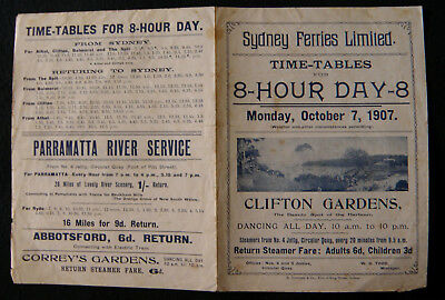 Sydney Ferries Time Table 1907