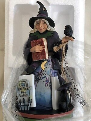 Jim Shore Halloween Ghostly Ghastly Greetings Witch with Rotating Graveyard NEW