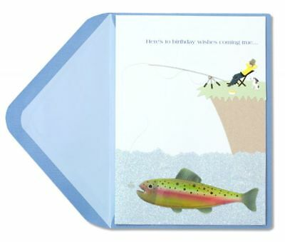 PAPYRUS Greeting Card BIRTHDAY Unique Cute Sealed Celebrate Sweet Man Fishing