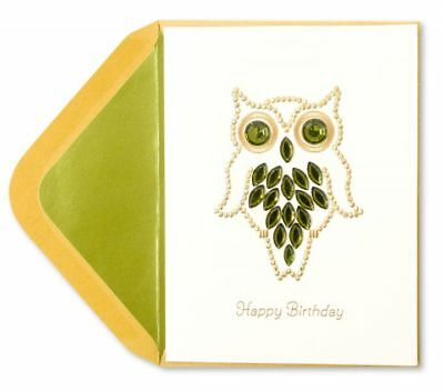 PAPYRUS Greeting Card BIRTHDAY Unique Cute Sealed Celebrate Gemmed Owl