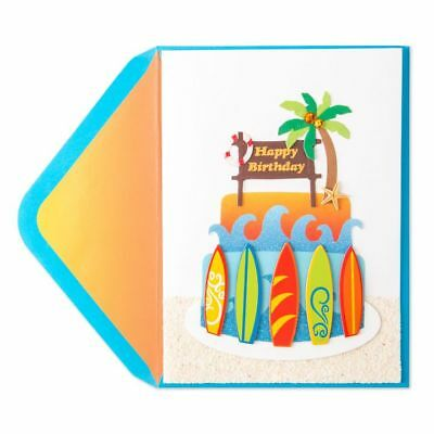 PAPYRUS Greeting Card BIRTHDAY Unique Cute Sealed Celebrate Surfboard Cake