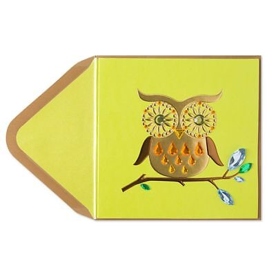 PAPYRUS Greeting Cards BLANK Handmade Elegant Beautiful Cute Unique Gemmed Owl