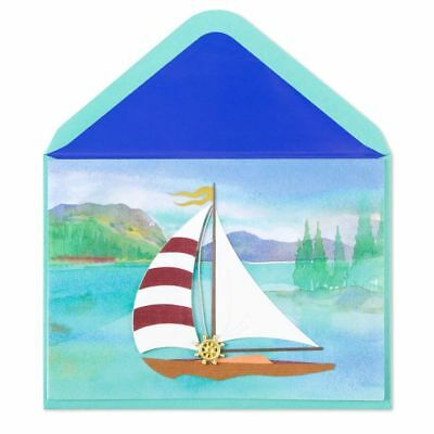 PAPYRUS Greeting Cards BLANK Handmade Unique Cute Unique Sailboat Lake