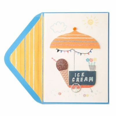 PAPYRUS Greeting Cards BLANK Handmade Unique Cute Unique Ice Cream Cart