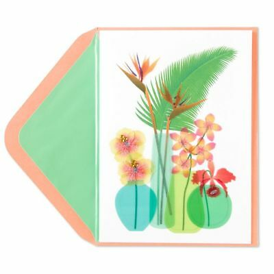 PAPYRUS Greeting Cards BLANK Handmade Unique Cute Glitter Tropical Flowers