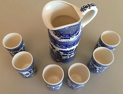 Japan Blue Willow Juice Set - Pitcher & 6 Glass Tumblers Glasses