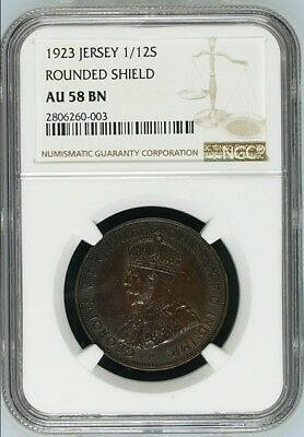 1923 Jersey 1/12 Shilling Rounded Shield AU 58 BN NGC