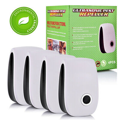 4pcs/pack Electric Ultrasonic Pest Repeller Ant Mice Spider Mosquito Insect UK