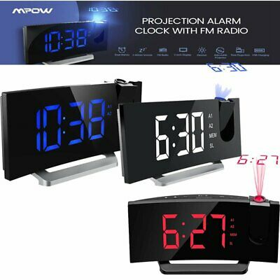 Mpow LED Digital Projection Alarm Clock Large Display FM Dual Alarm Clock w/ USB