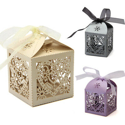 50pcs Hollow Out Heart Shape Candy Gifts Boxes Ribbon Wedding Party Favors