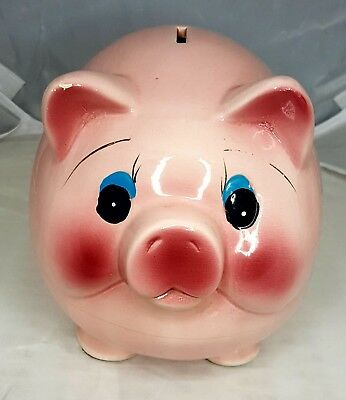 Large Pottery Fat Belly Pink Ceramic Pig Piggy Bank Coin Bank Vintage Rare