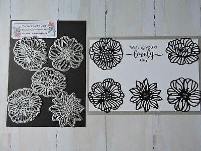 Craft Metal Die compatible with both Cuttlebug or Sizzix - Assorted Flowers