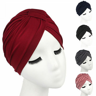 Women Indian Stretchy Cotton Chemo Pleated Turban Hat Head Wrap Hijab Cap