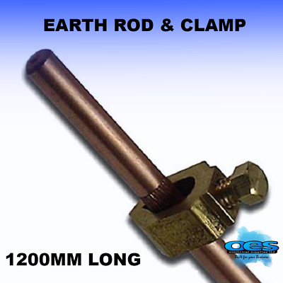 "3/8"" Earth Rod And Clamp 4 Foot Long 48"" 1200Mm Copper-Brass-Machine-Clamp"