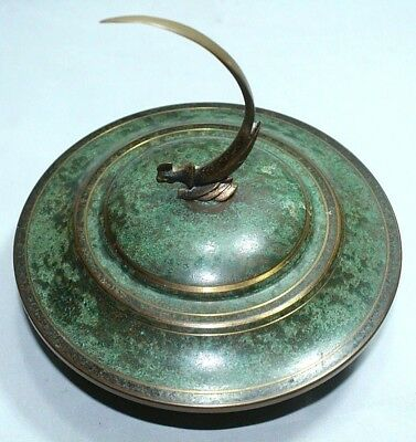 CARL SORENSEN Mid Century Verdigris Bronze BOWL w/LID Covered Dish.. A Bird