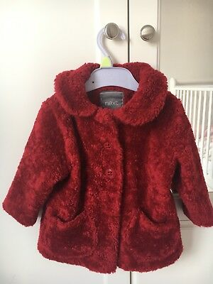 Red Next girls single breasted red hooded coat 9-12 months.