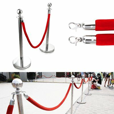 2/4 Red Belt Stanchion Queue Rope Barrier Posts Stand Retractable Polished Steel