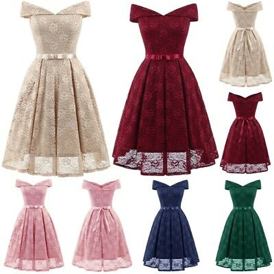 hOT Ladies Womens Vintage Lace Retro Rockabilly Party Evening Swing Skater Dress