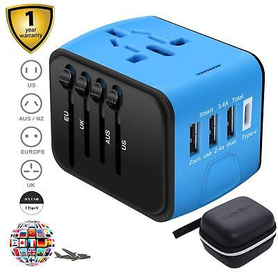 TRAVEL ADAPTER Universal All-in-one International USB High Speed 2.4A 4-port NEW