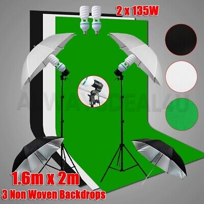 Black White Screen 2X3M Backdrops Photo Studio Softbox Lighting Light Stand Kit