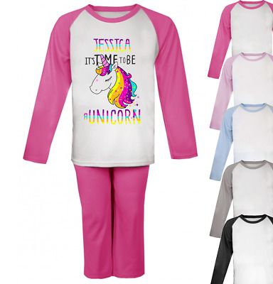 Personalised time to be a Unicorn Pyjamas Girls Pjs Boys Pyjamas Christmas Gifts