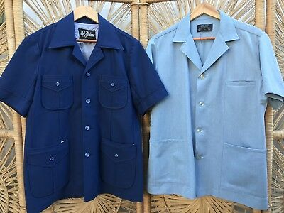 CLOSING DOWN SALE!!!! 2 x 1970's Vintage Men's Short Sleeved Shirts Lot #59