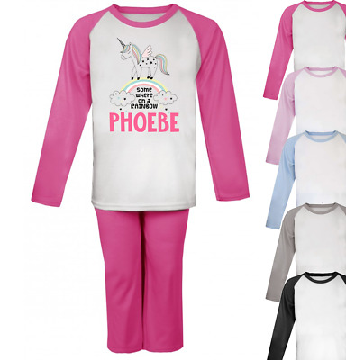 Personalised Rainbow Unicorn Pyjamas Girls Pjs Boys Pyjamas Christmas Gifts