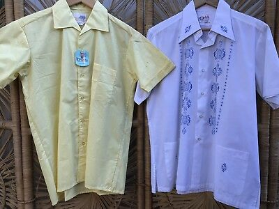 CLOSING DOWN SALE!!!! 2 x 1970's Vintage Men's Short Sleeved Shirts Lot #60
