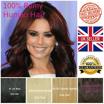 Top quality Clip in full head Remy Real 100% Human Hair Extension heavy set b