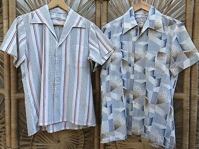 CLOSING DOWN SALE!!!! 2 x 1970's Vintage Men's Short Sleeved Shirts Lot #62