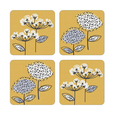 Cooksmart Pack of 4 Retro Meadow Coasters Modern Floral Mustard Yellow Grey