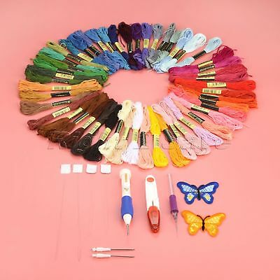 Embroidery Pen Punch Needle Set Scissors Threads Butterfly Appliques Sewing Tool
