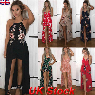 New Womens Holiday Floral Playsuit Ladies Summer Shorts Jumpsuit Long Maxi Dress