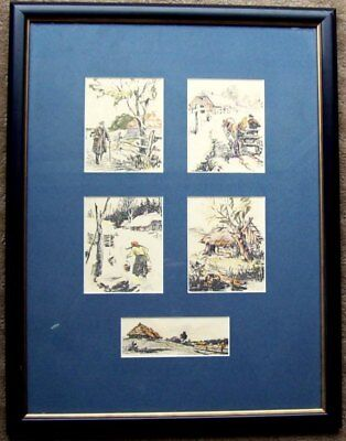 Five watercolour prints of outdoor scenes in one frame