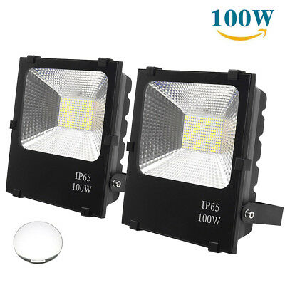 Pair 100W LED FloodLights Spotlights Outdoor Waterproof Cool White Flood Lamp