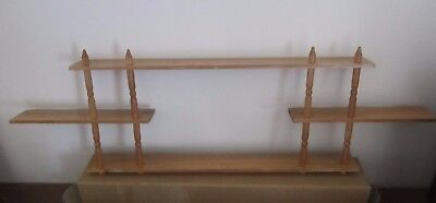 90 cm PALE WOODEN SHADOW BOX SHELF/WALL DISPLAY UNIT for TRINKETS ORNAMENTS-USED
