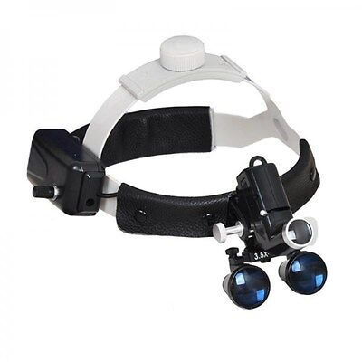 Dental 5W LED Headlight Surgical Medical Head Lamp + 3.5X Binocular Loupes Black
