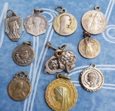 Antique -Vintage lot of 10 Pieces Crhistianity Saint Medals