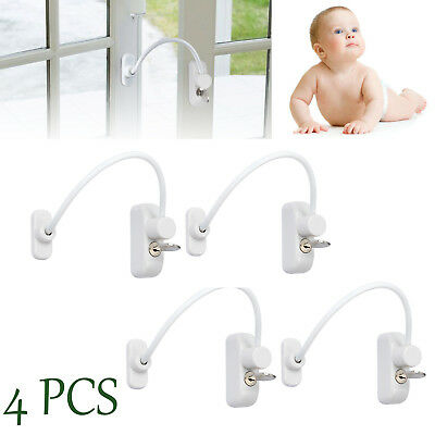 4 x Window Door Restrictor Child Baby Safety Security Locking Cable Wire Lock