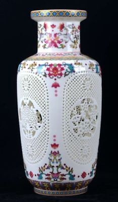 Chinese Pastel Porcelain Handmade Carved Hollow Vase W QianLong Mark CQLK03
