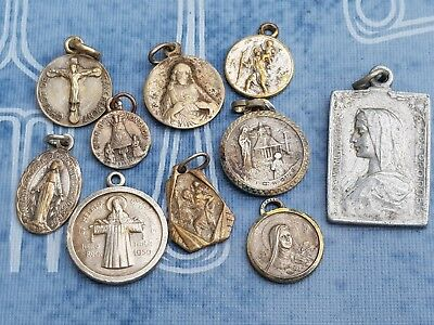Antique - Vintage lot of 10 Pieces Christianity Saint Medals