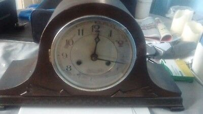 Antique/Vintage Wooden Mantle Clock Mauthe movement 12 x 15