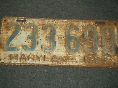 Antique Maryland 1929 License Plate Rusty