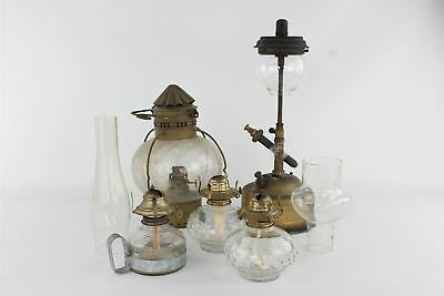 Lot of Vintage Paraffin Oil Lamps & Two Glass Chimneys 6000g