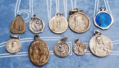 Antique -Vintage lot of 10 Pieces Christianity Saint Medals
