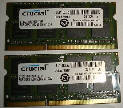 Crucial 16GB (2x 8GB) DDR3 1600 MHz 2Rx8 SO-DIMM Laptop RAM DDR3L CT102464BF160B